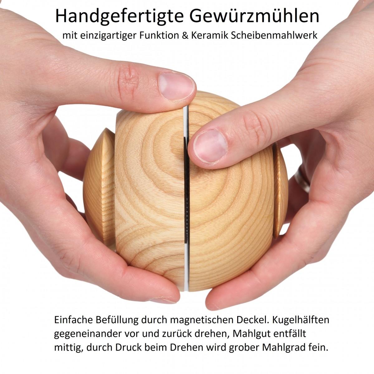 Kohl Produktentwicklung Gewürzmühle / Pfeffermühle / Salzmühle Esche-Schwarz