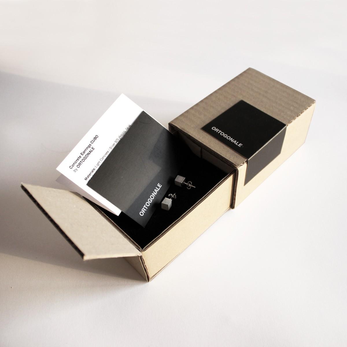Beton Ohrstecker CUBO, Beton und Silber, Beton Schmuck, moderner und minimalisticher Schmuck, Geschenk für Architektin, Kollektion aus Beton