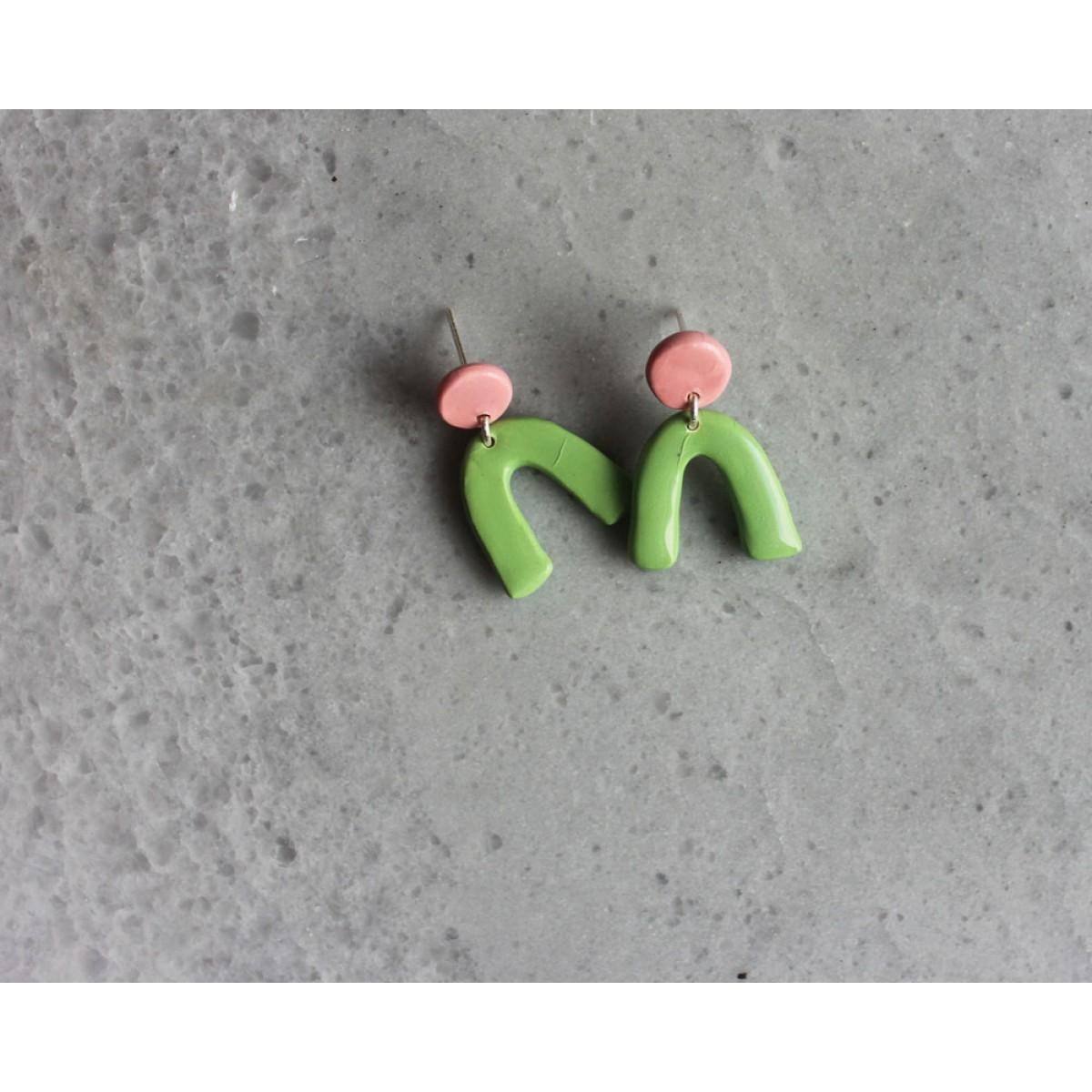 Skelini - pink und grün Porzellanohrringe