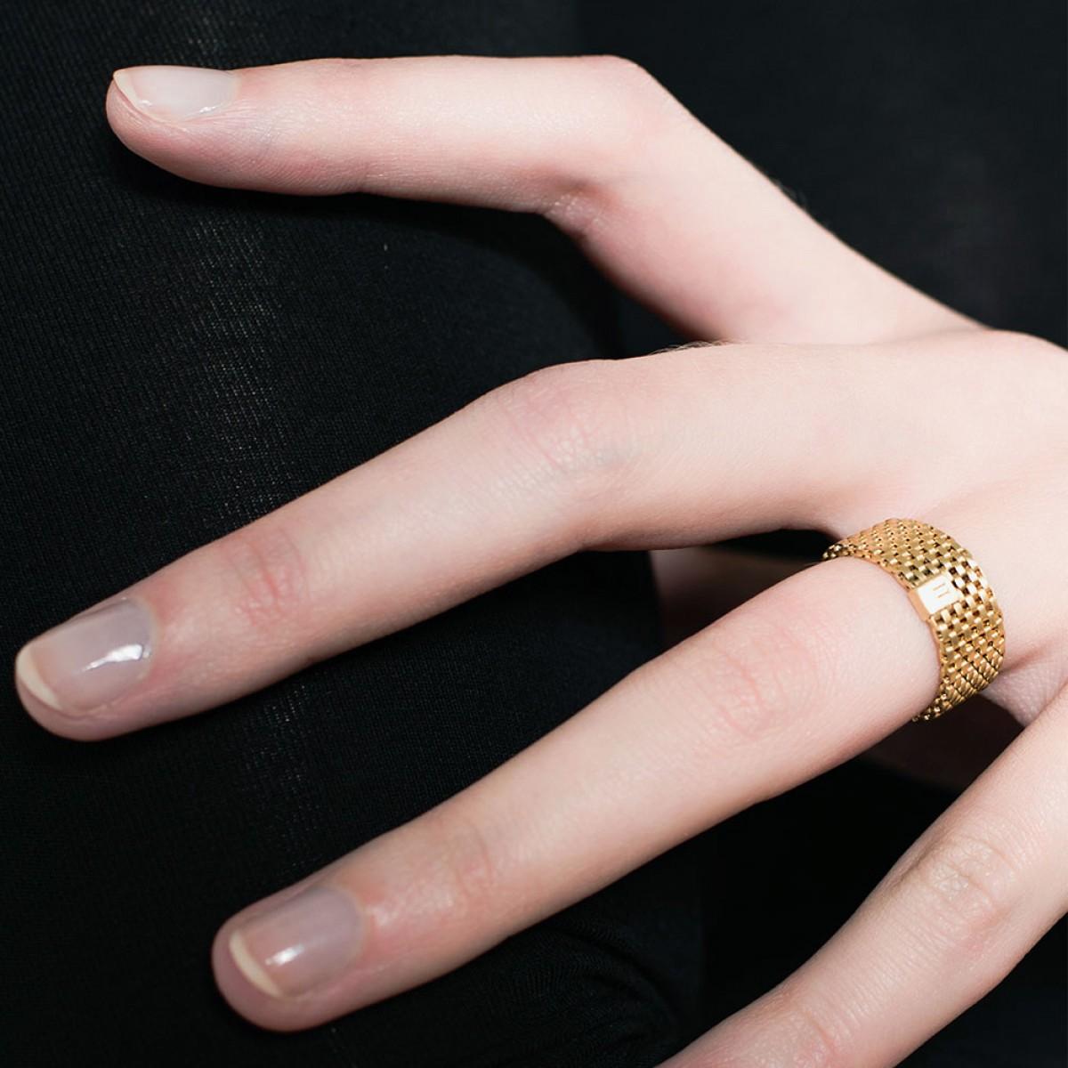 Jasmina Jovy Jewellery Decode! Mesh Ring RIDC03 small gold plated
