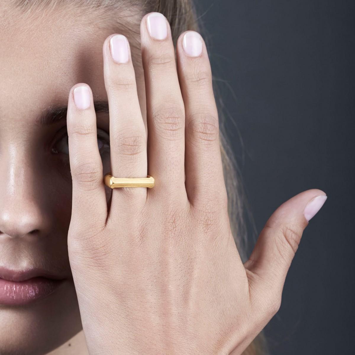 Jasmina Jovy Jewellery Hidden Faces Ring RIHF04 gold plated