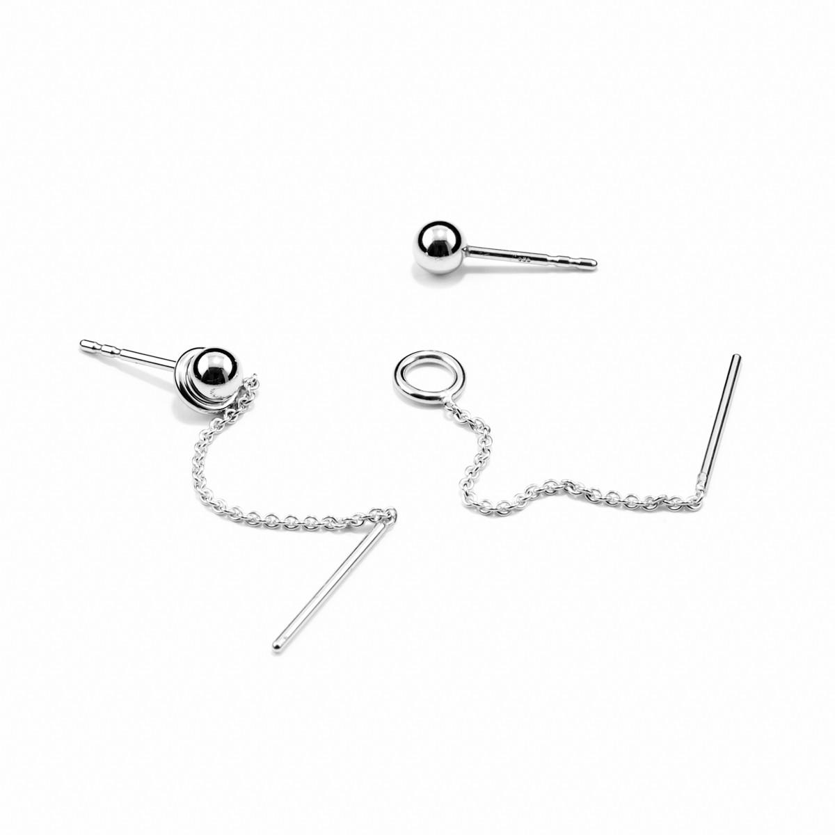 Jonathan Radetz Jewellery, Set Ohrringe SPHERE und LOOP, Silber 925
