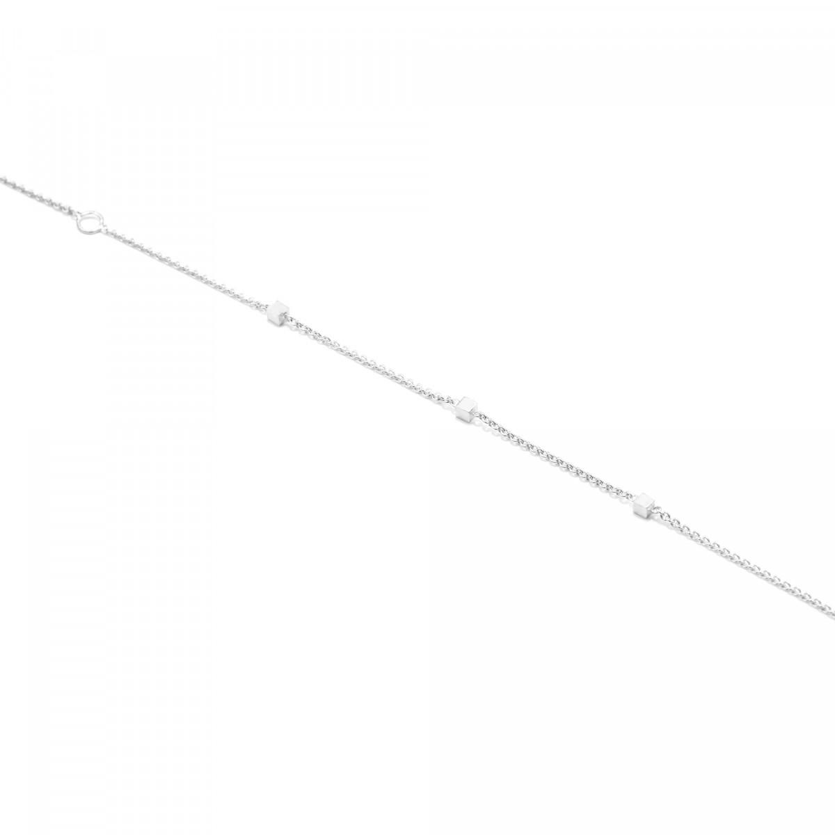 Jonathan Radetz Jewellery, Armband fineCUBE, Silber 925, Sterlingsilber, Länge 16 -18 cm, Cube 2 mm, Handmade in Germany
