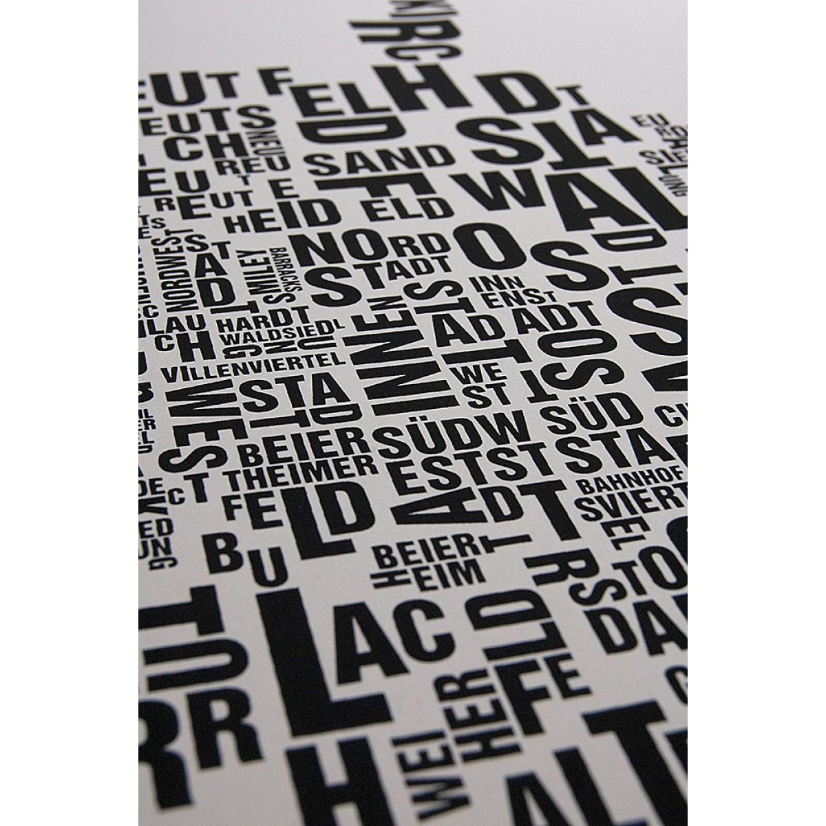 Buchstabenorte Poster KARLSRUHE Stadtteile Typographie