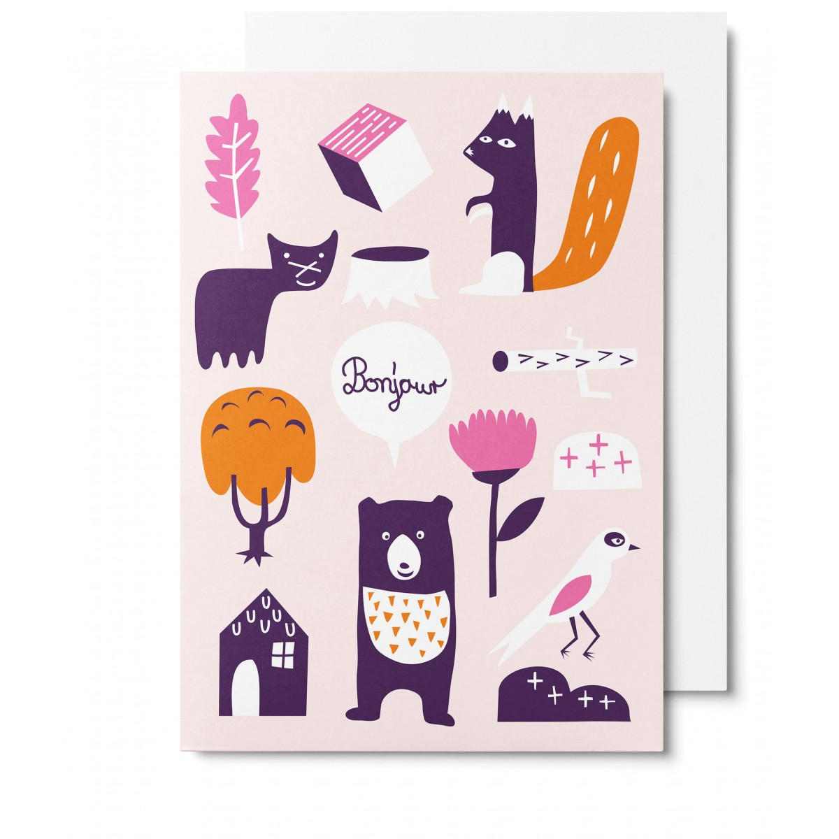 UNTER PINIEN Waldtiere - rosa Klappkarte mit Umschlag