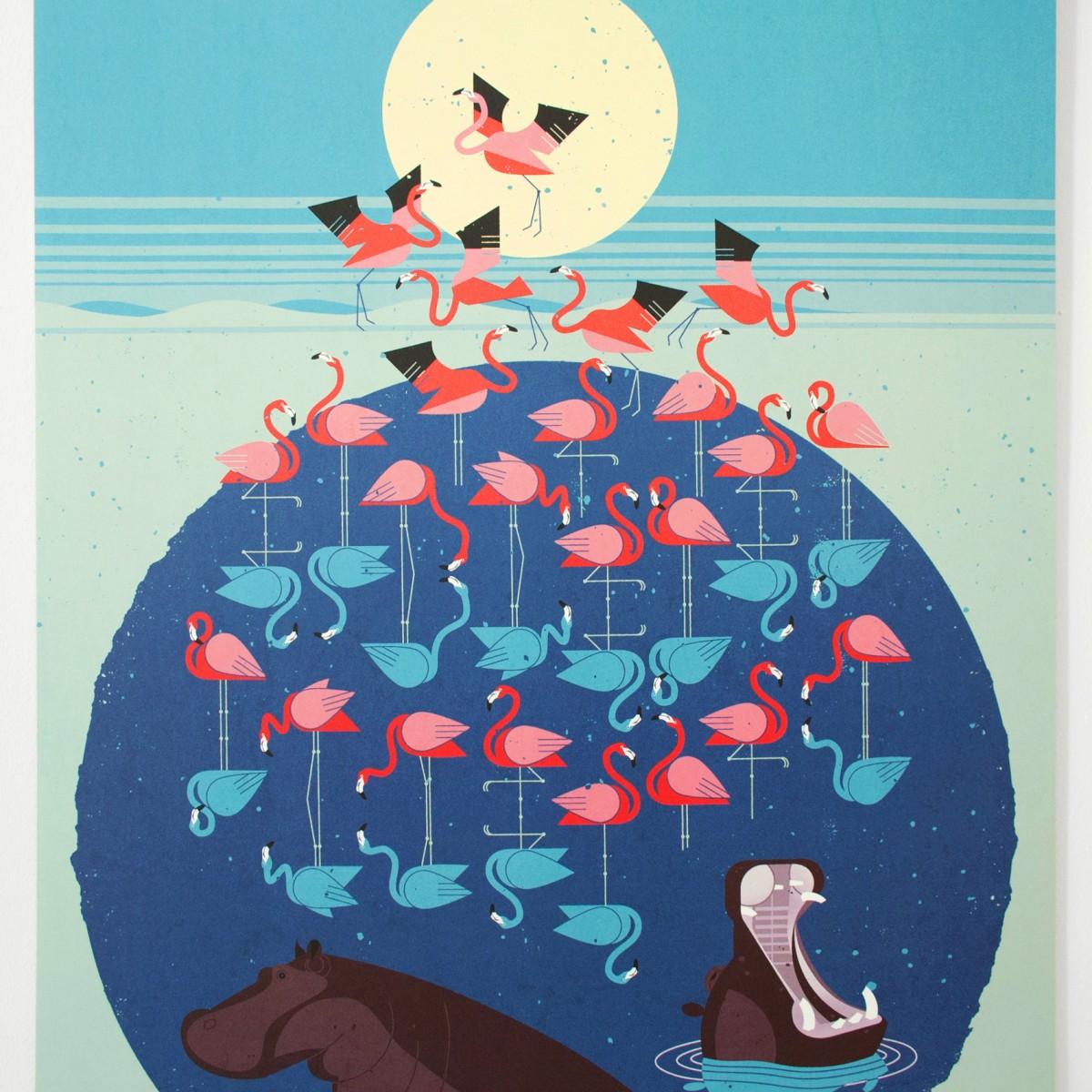 KLEINWAREN / VON LAUFENBERG Set / Flamingo Lake + Posterleiste Eiche 50 cm