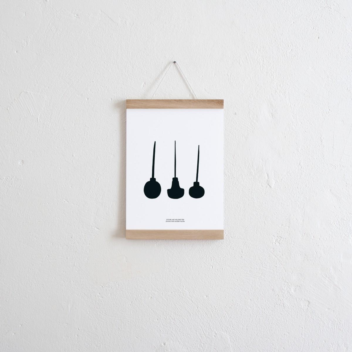 KLEINWAREN / VON LAUFENBERG Set / Stichel Wendeposter + Posterleiste A4