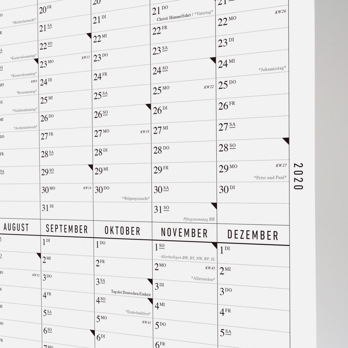 Der lange Wandkalender 2020 mit Posterleiste