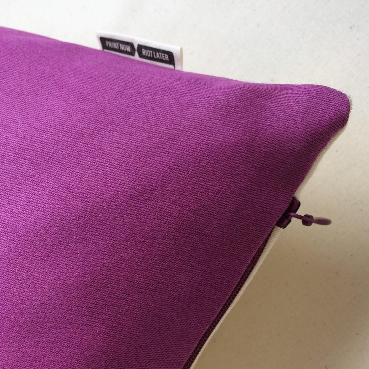 Print now - Riot later ● Kissen Sanddollar violett, Stoffsiebdruck