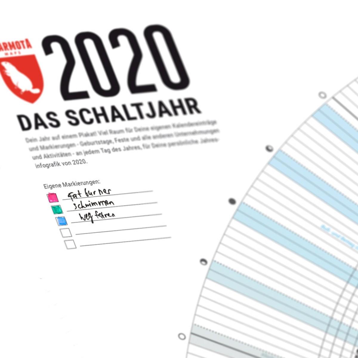 Jahreskalender 2020 von Marmota Maps