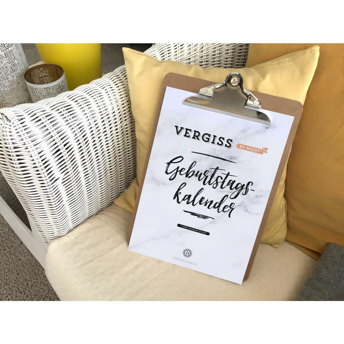 Handlettering Geburtstagskalender Klemmbrett / Flieder