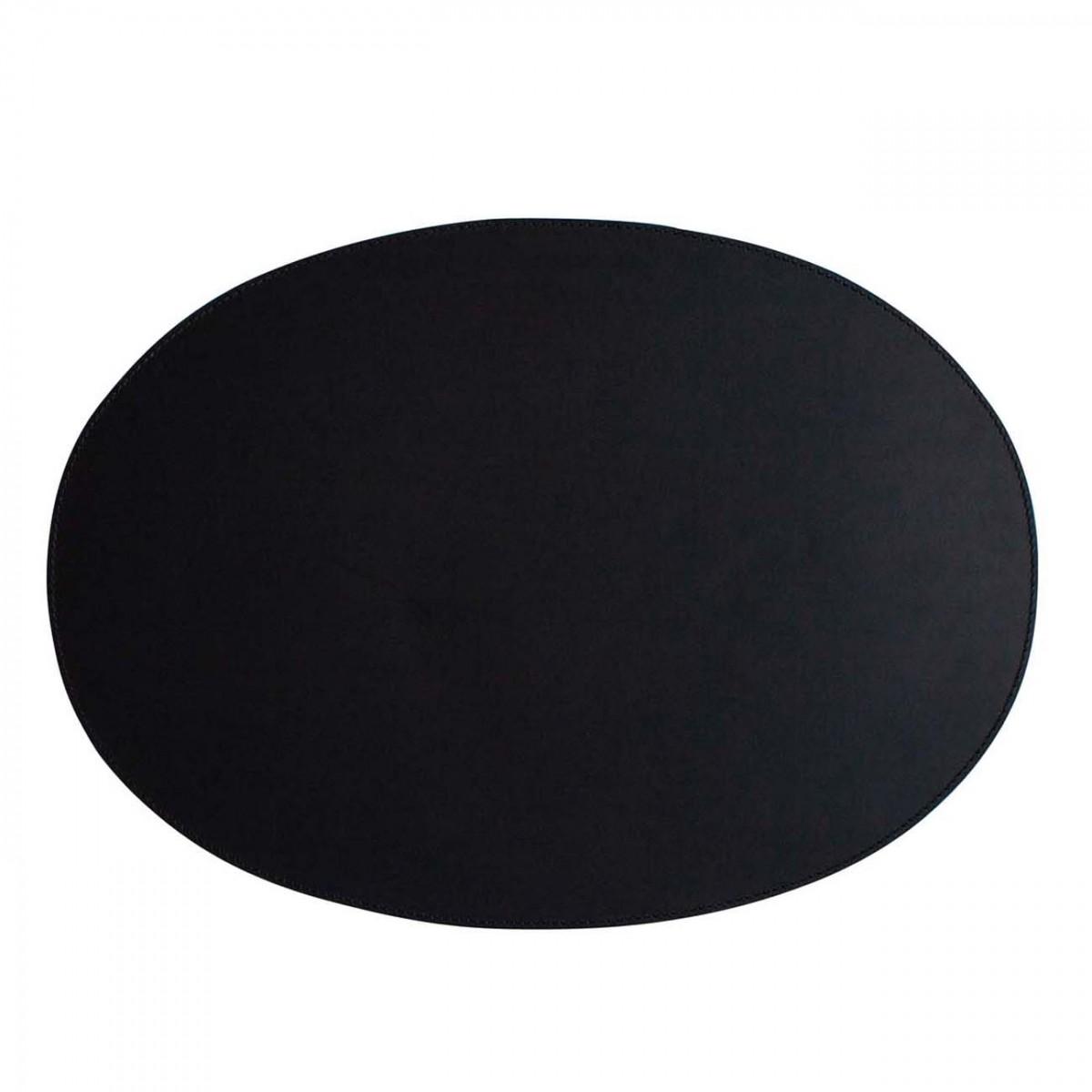adorist. - Leder Tischset, Lederunterlage, oval, schwarz (weiße Naht)