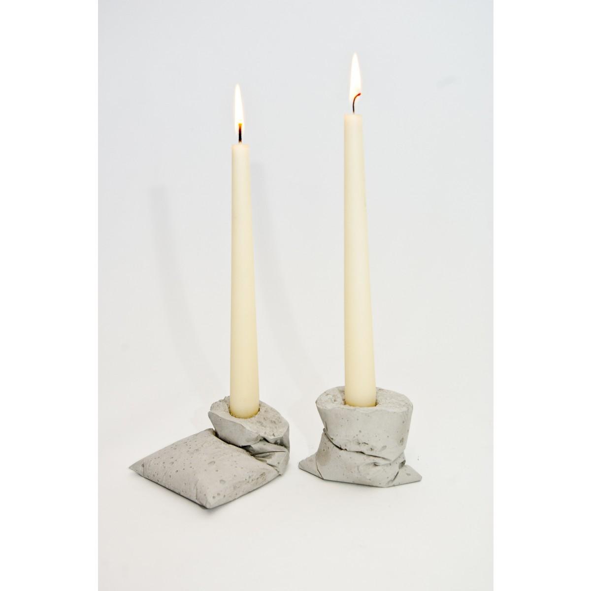 LJ LAMPS kappa, zwei Kerzenständer aus Beton