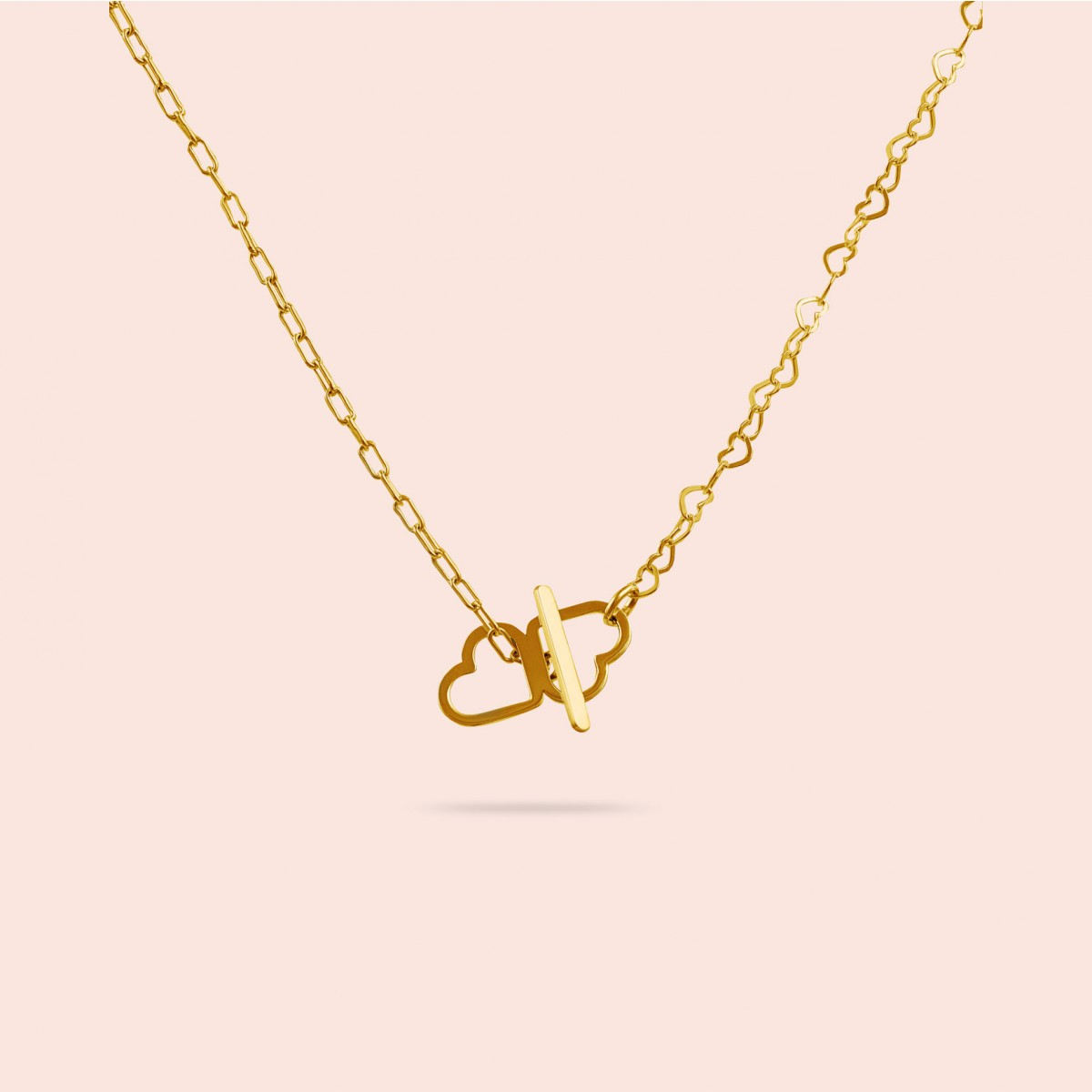 just hearts extended necklace - 925 Sterlingsilber 18k goldplattiert