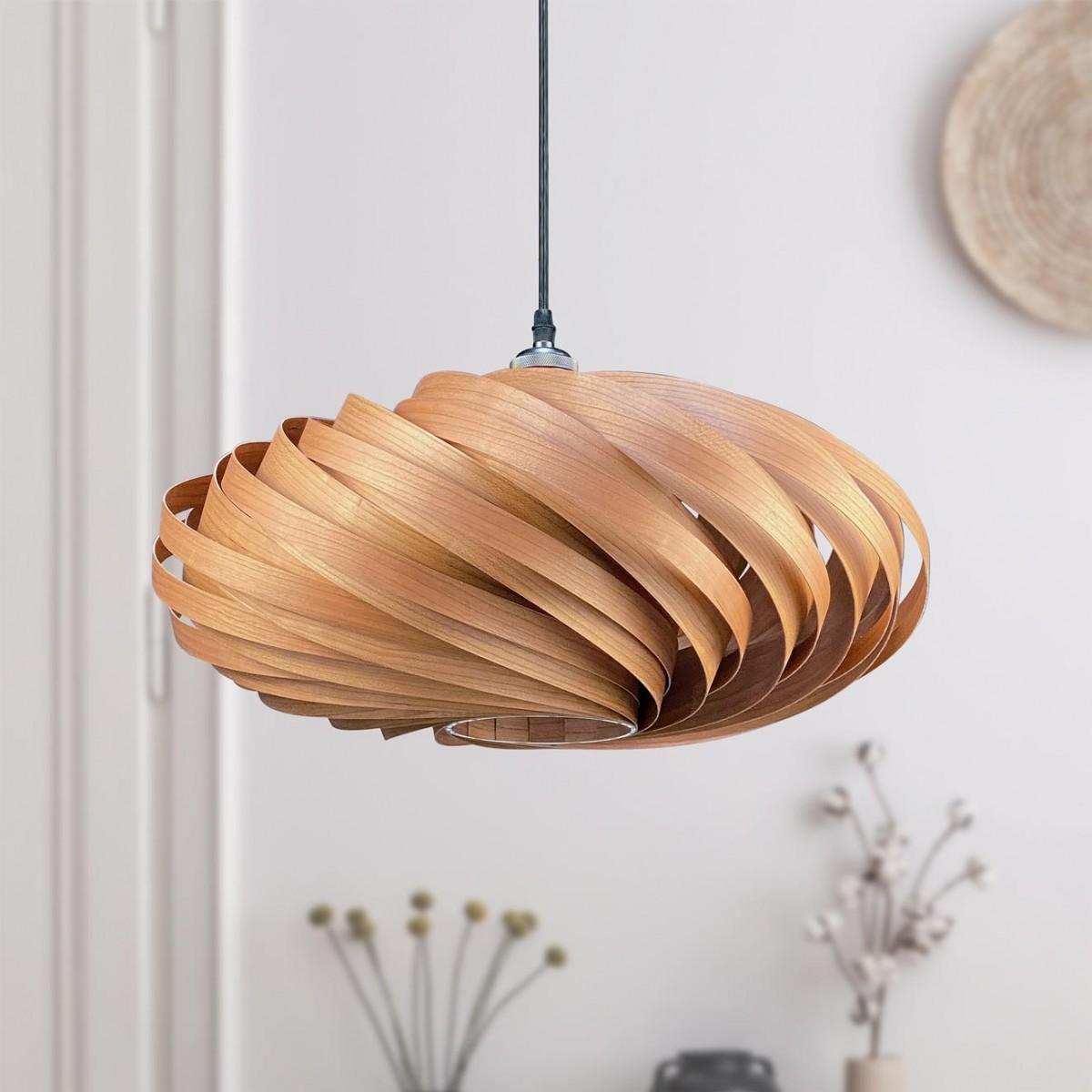 Gofurnit Hängeleuchte 'Veneria' aus Kirschbaumholz, handgefertigt in Köln