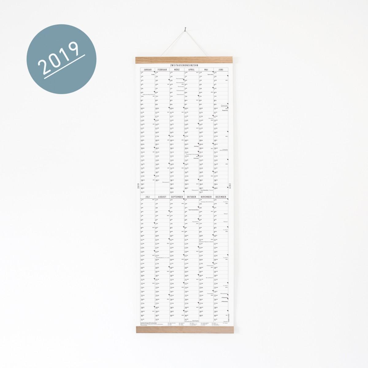 Der lange Wandkalender 2019 mit Posterleiste