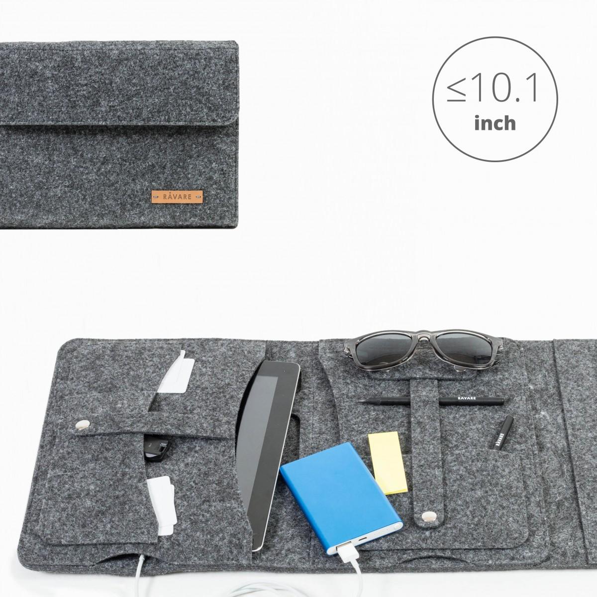 RÅVARE Tablet Organizer für kleine und mittlere Tablets ≤10.1″ mit vielen Stecklaschen, iPad, Samsung in grau [KOCO M]