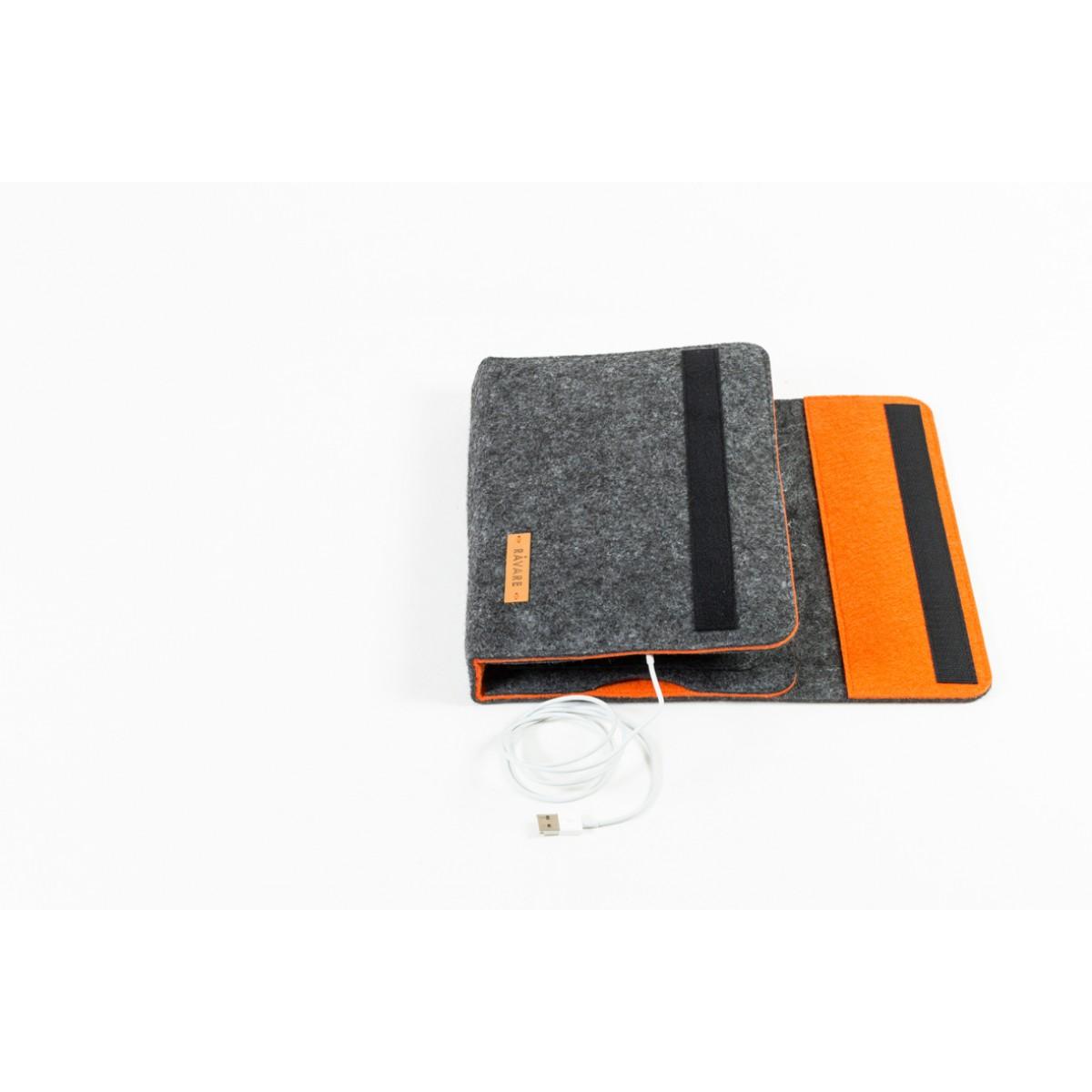 RÅVARE Tablet Organizer für kleine und mittlere Tablets ≤10.1″ mit Schreibblock, iPad, Samsung in grau-orange [KORA M]