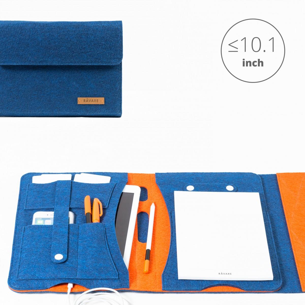 RÅVARE Tablet Organizer für kleine und mittlere Tablets ≤10.1″ mit Schreibblock, iPad, Samsung in blau-orange [KORA M]