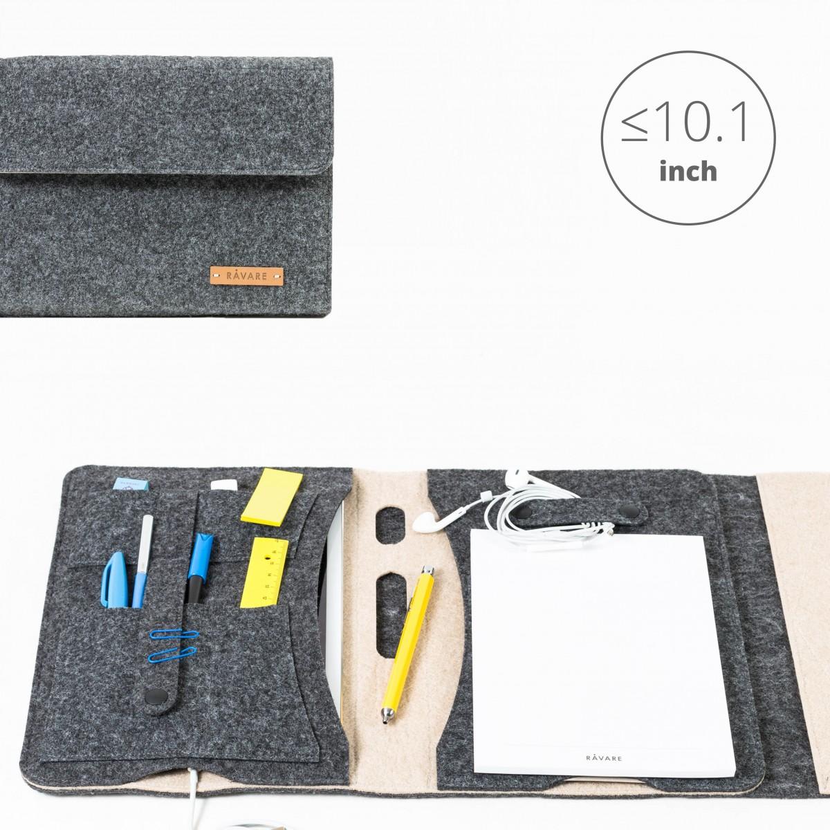 RÅVARE Tablet Organizer für kleine und mittlere Tablets ≤10.1″ mit Schreibblock, iPad, Samsung in grau-beige [KORA M]