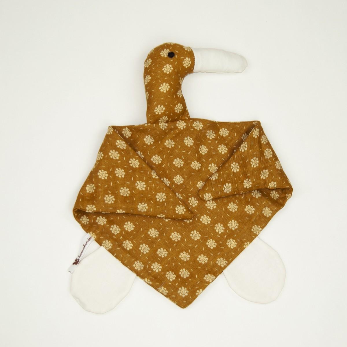 hasenkinder - Kuscheltuch ocker 45x29 cm - für Babys - Einzelstück