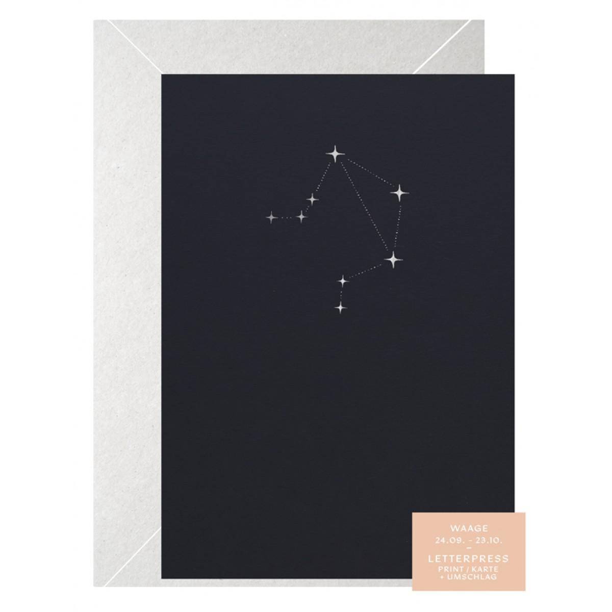 WAAGE STERNZEICHEN - A5 Print - Letterpress – Anna Cosma