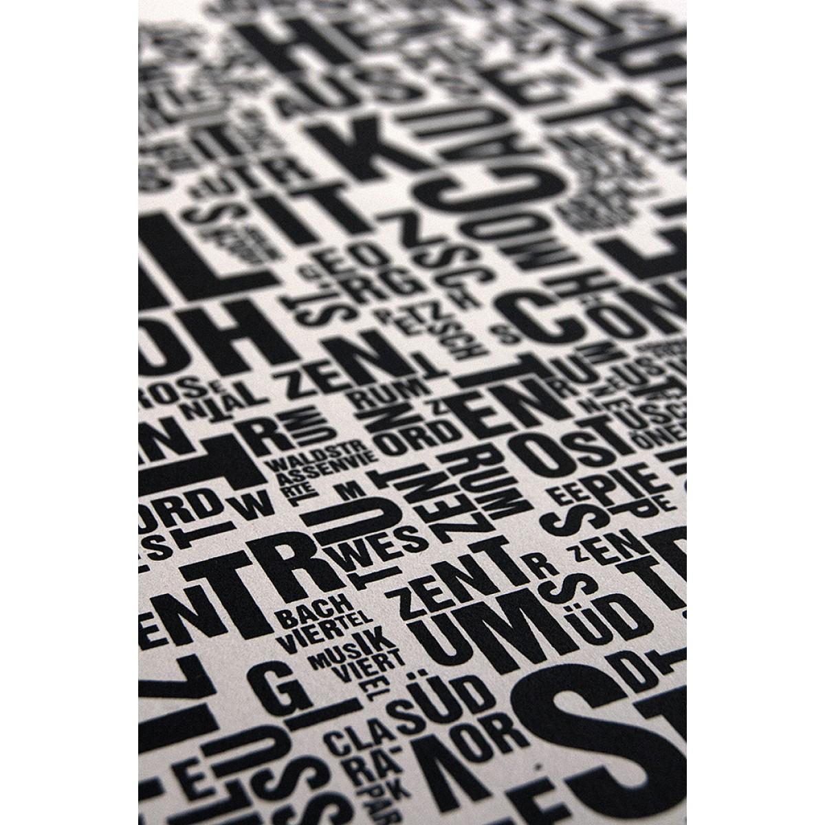 Buchstabenort Leipzig Stadtteile-Poster Typografie