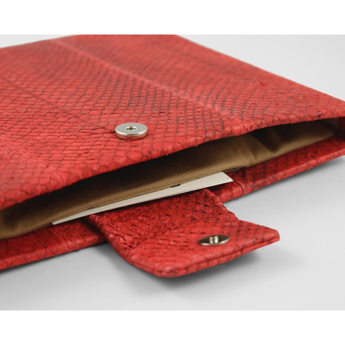 iPad case Lachsleder, rot