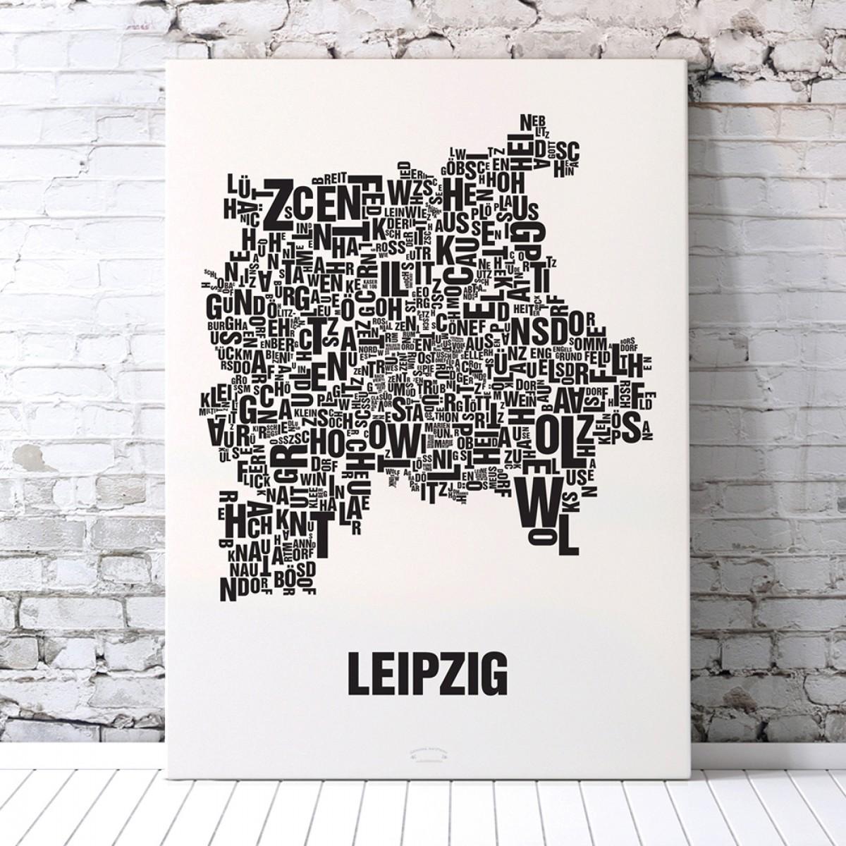 Buchstabenort Leipzig Poster Typografie Siebdruck