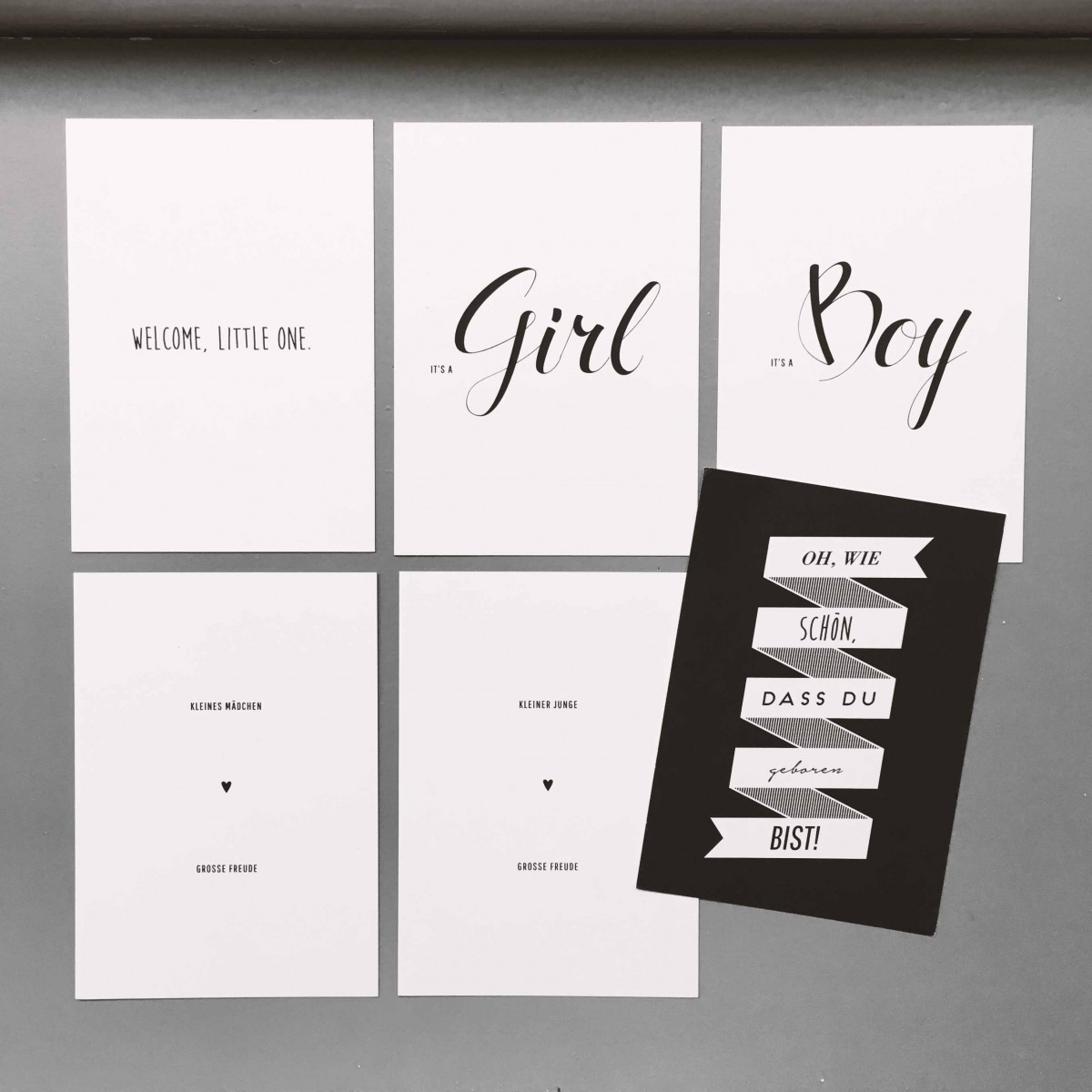 "Love is the new black – Postkarten-Set ""Baby"""