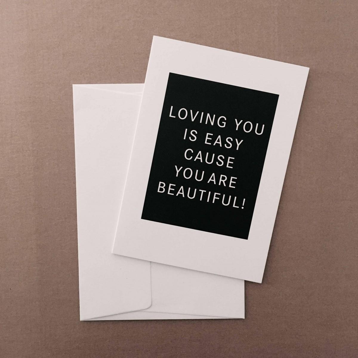 "Love is the new black – Grußkarte ""Loving you is easy"""