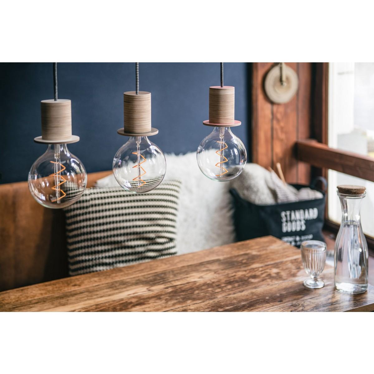 """Lichtliebe Pendelleuchte """"Fafoo"""" in steingrau und schwarz-weiß inkl. LED Vintage Glühbirne im Edison Style mit nur 1,5 Watt"""