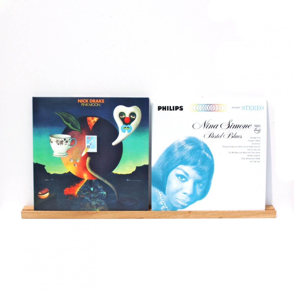 Schallplattenleiste, Wandregal, Schallplattencover Regalleiste aus Eiche / objet vague