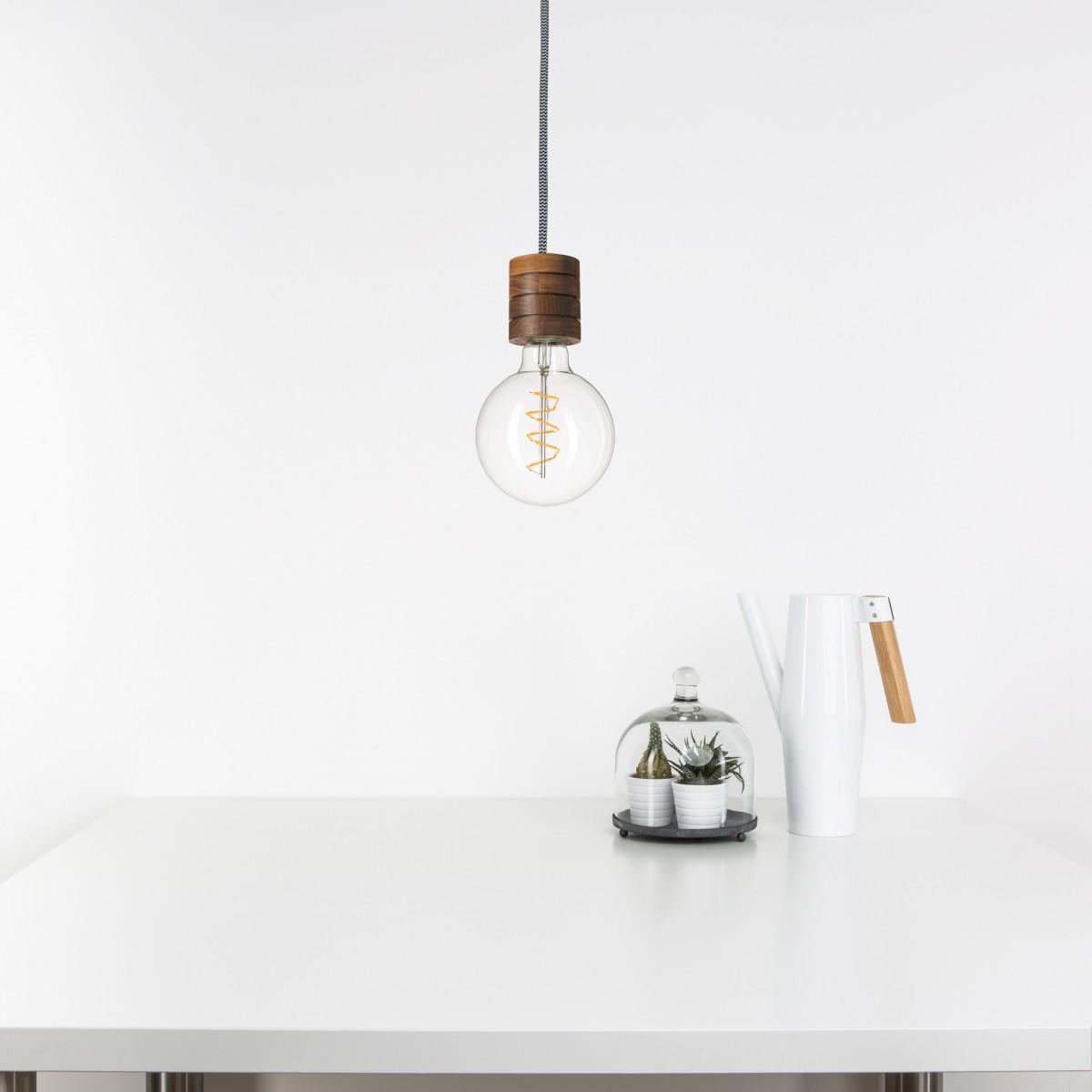 Pendelleuchte Fafoo in Nussbaum mit stylischer Edison Spiral LED im Retro Design und nur 1,8 Watt