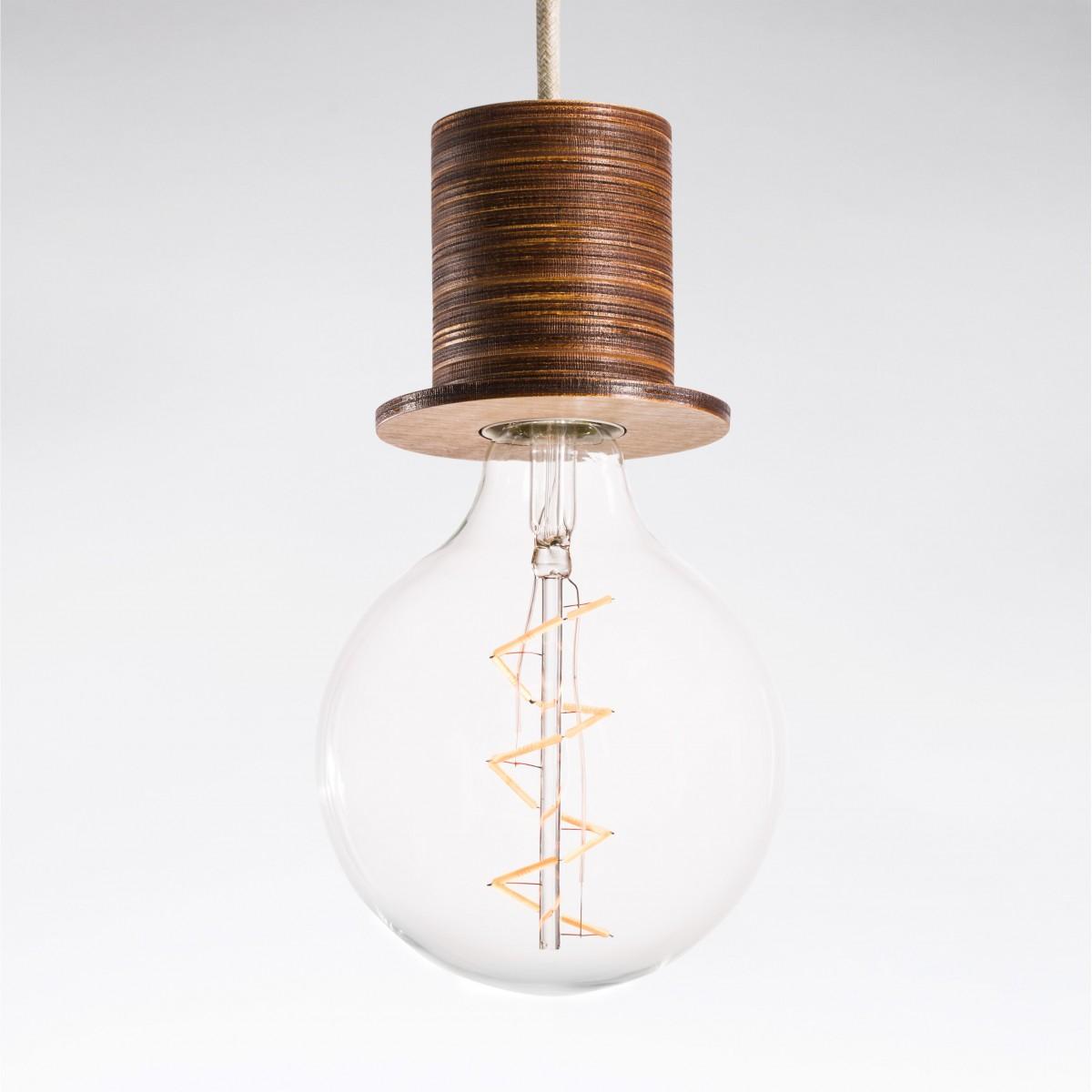 """Lichtliebe Pendelleuchte """"Fafoo"""" in dunkelbraun und Leinen natur inkl. Edison Spiral LED im Retro Design mit nur 1,8 Watt"""