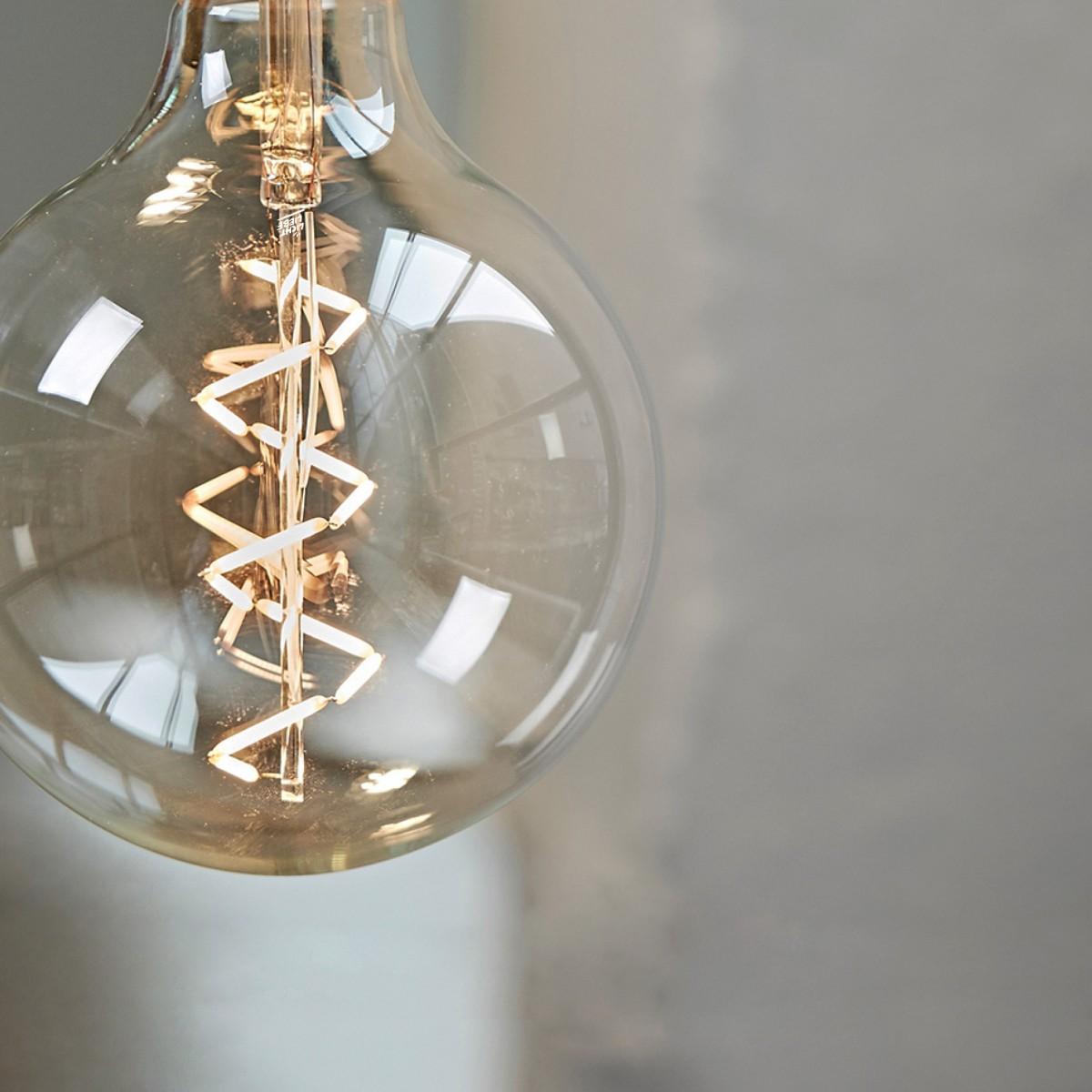 """Lichtliebe Pendelleuchte """"Fafoo"""" in dunkelbraun und Leinen natur meliert inkl. LED Vintage Glühbirne im Edison Style mit nur 1,5 Watt"""