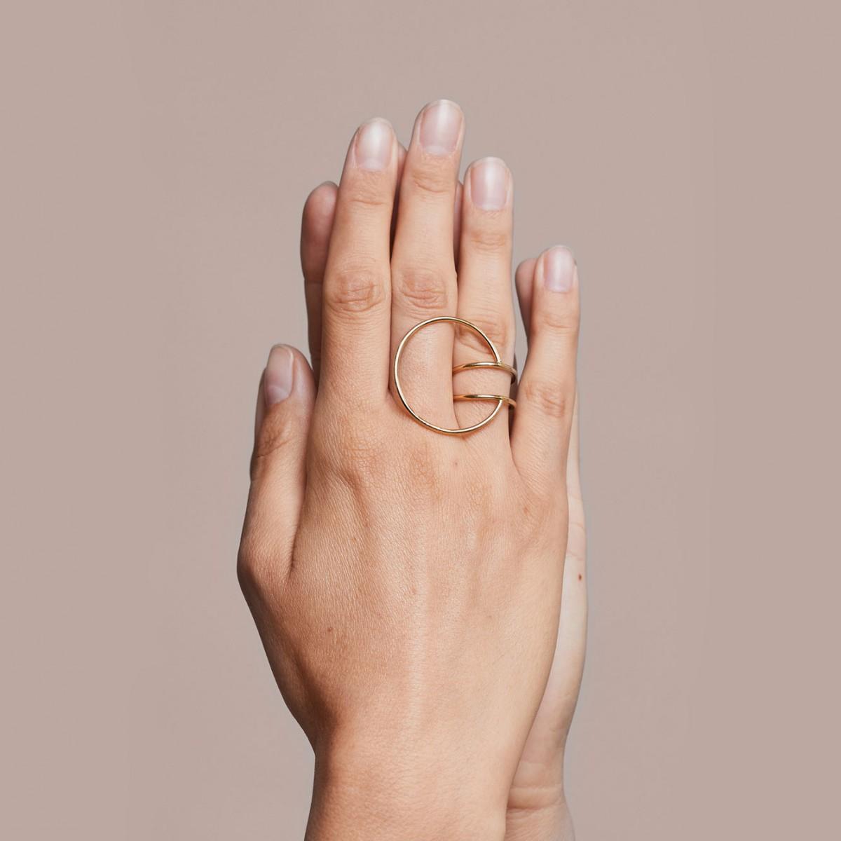 lunar ring extended - 925 Sterlingsilber weiß rhodiniert