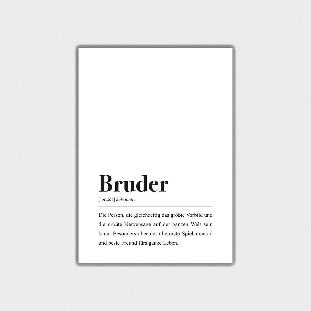 Bruder Definition: DIN A4 Poster - Pulse of Art