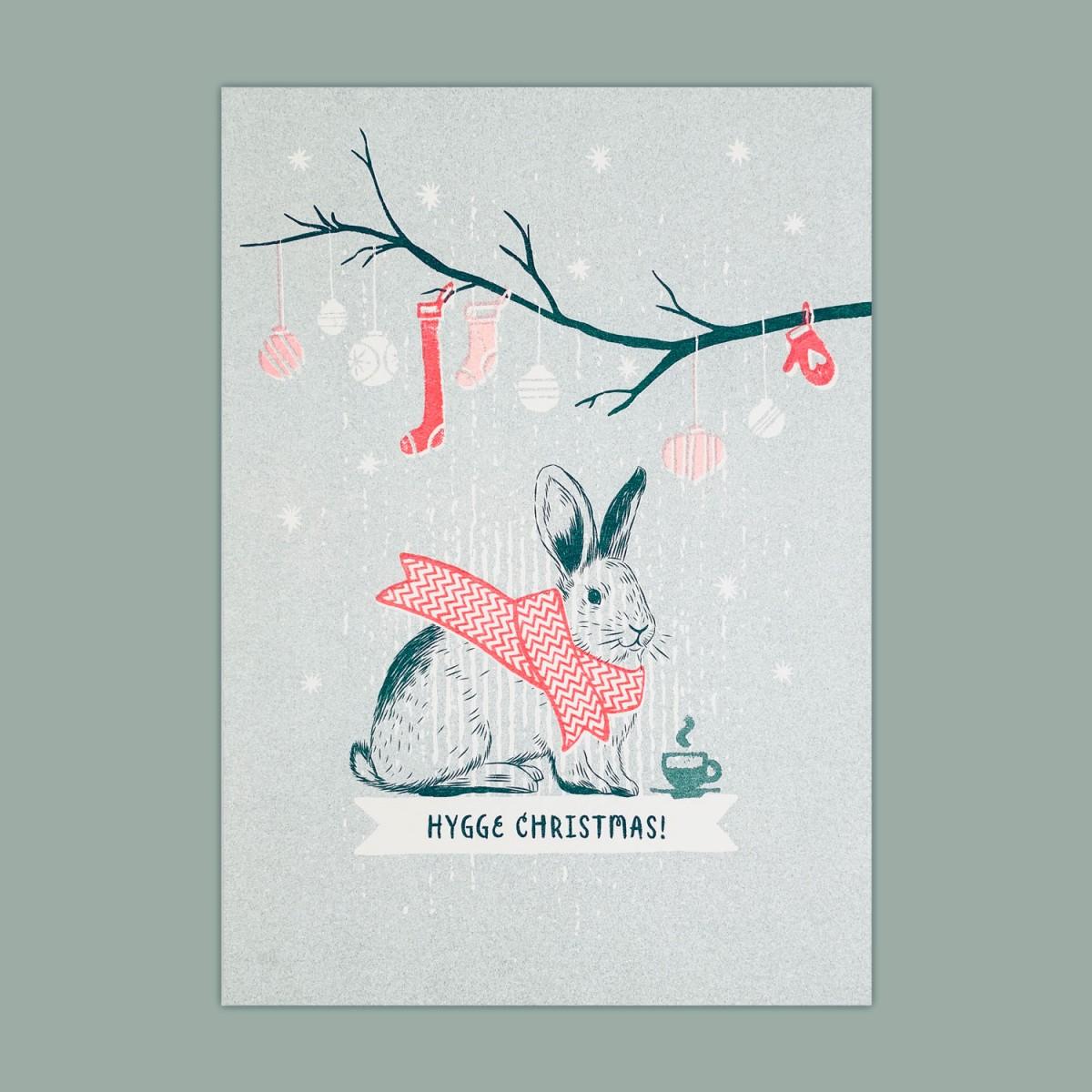 Feingeladen // LOVELY BEASTS // Bunny »Hygge Christmas!« (TLFR), RISO-Kunstdruck, A5