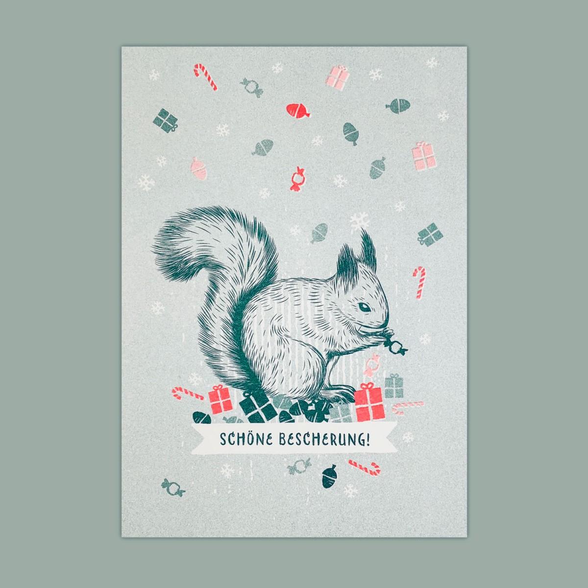 Feingeladen // LOVELY BEASTS // Squirrel »Schöne Bescherung!« (TLFR), RISO-Kunstdruck, A5