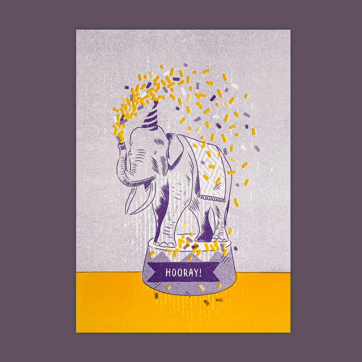 Feingeladen // LOVELY BEASTS // Elephant »Hooray!« (PPSF) // RISO-Kunstdruck, A5
