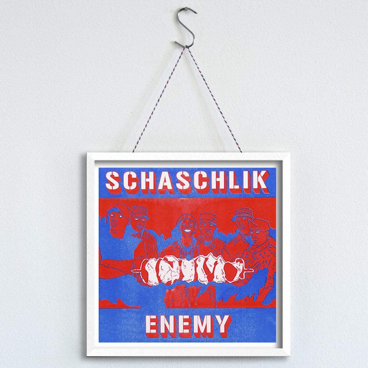 """MEAT LOVE """"Schaschlik Enemy"""" Fleisch und Musik Riso Drucke von Black Matter"""