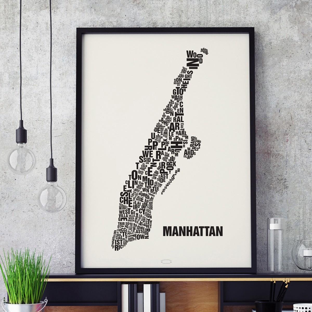 Buchstabenort Manhattan Stadtteile-Poster Typografie Siebdruck