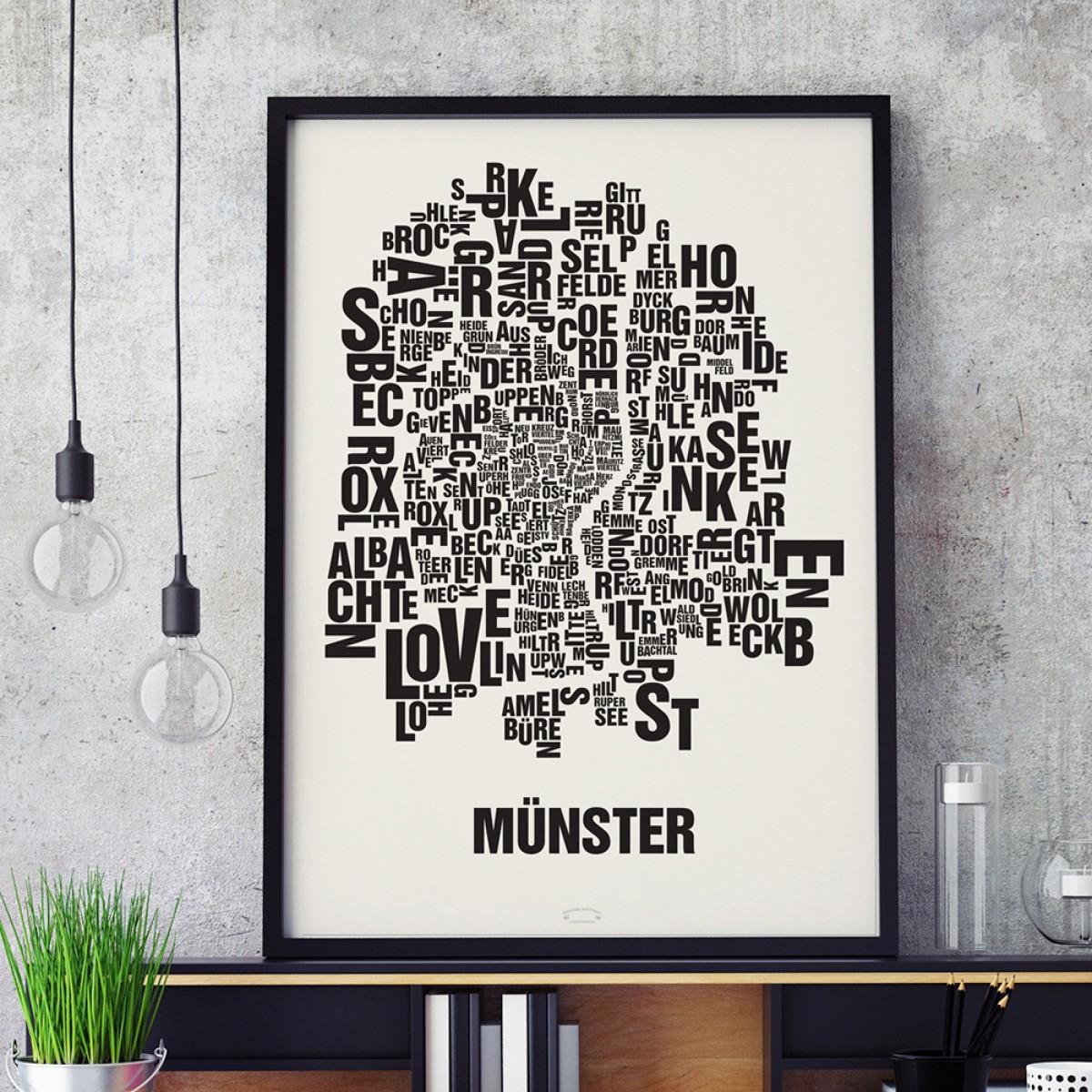 Buchstabenort Münster Stadtteile-Poster Typografie Siebdruck
