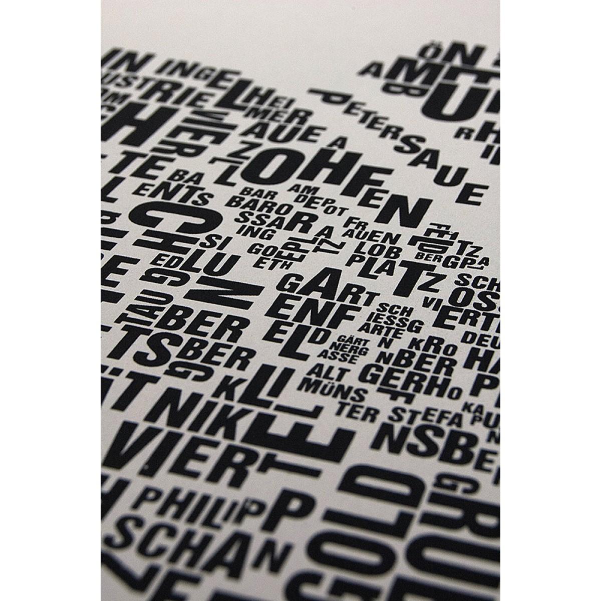Buchstabenort Mainz Stadtteile-Poster Typografie