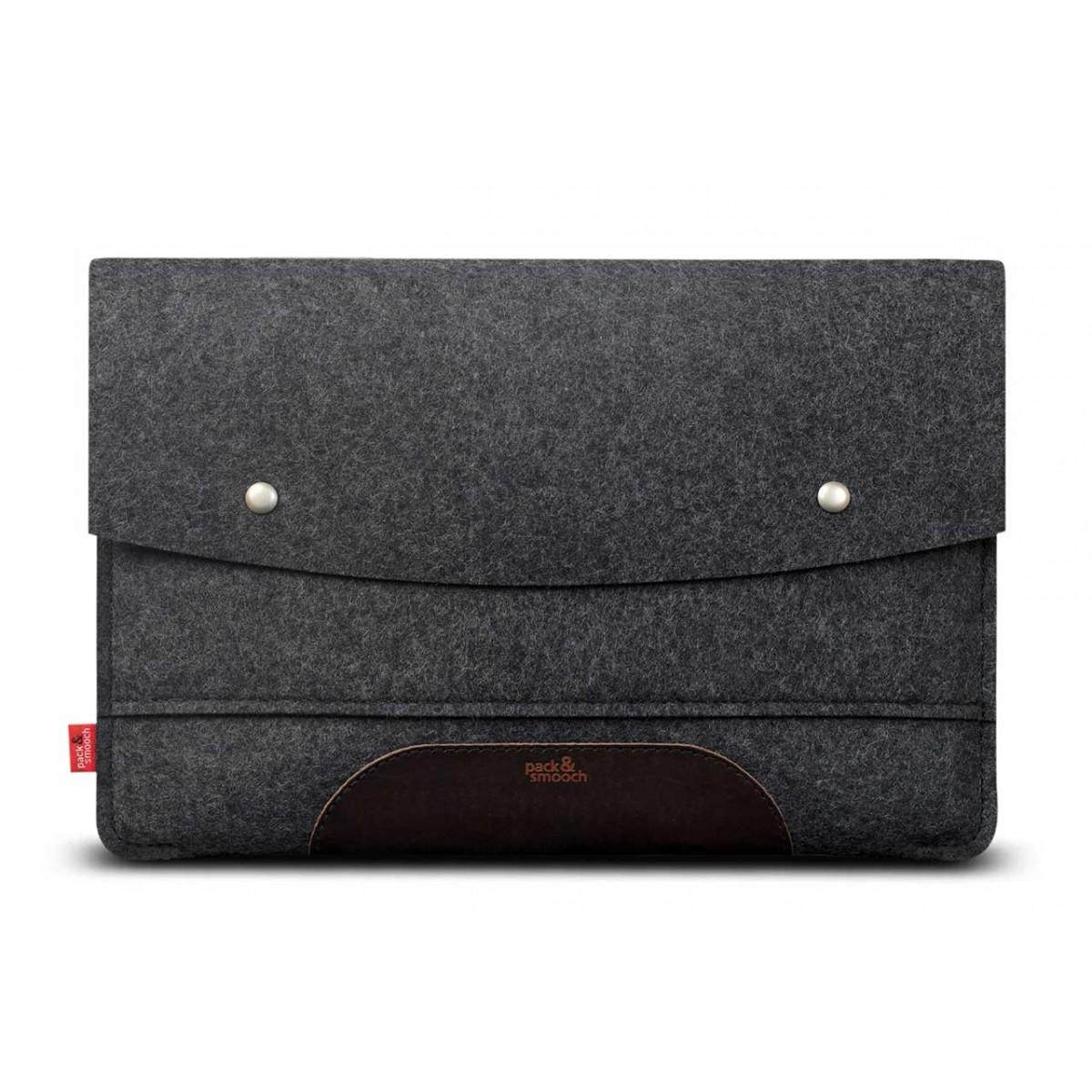 "Pack & Smooch iPad Pro 12.9"" (Vor Okt. 2018) Hülle, Sleeve HAMPSHIRE 100% Merino Wollfilz, Naturleder"