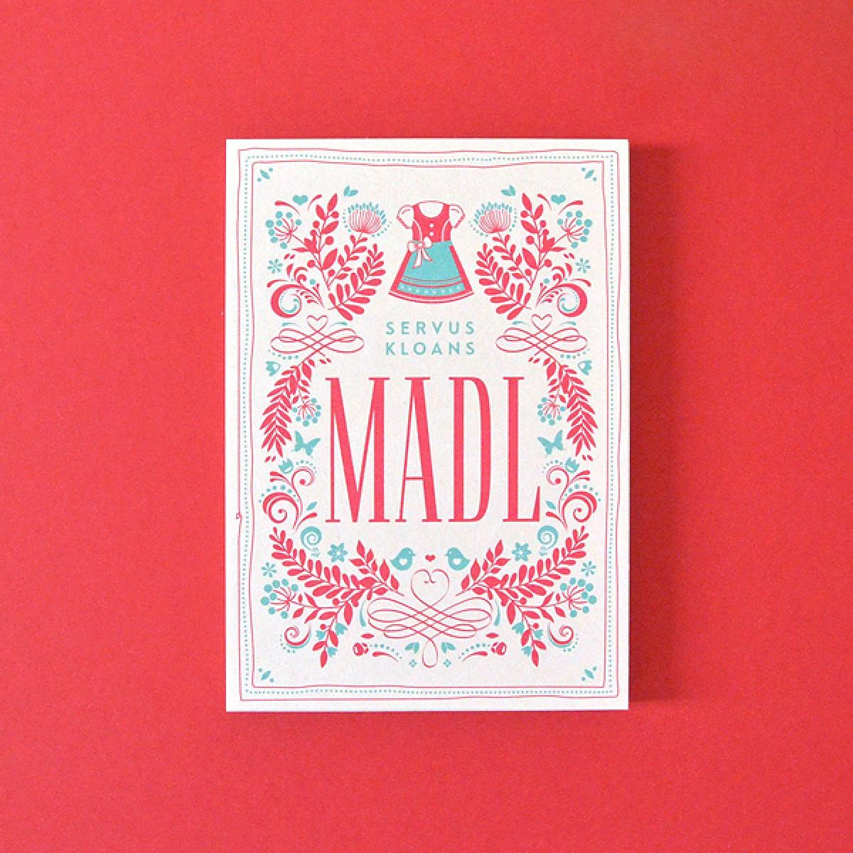 MADL weiß-rot // Bierdeckel-Karte inkl. Naturpapierkuvert