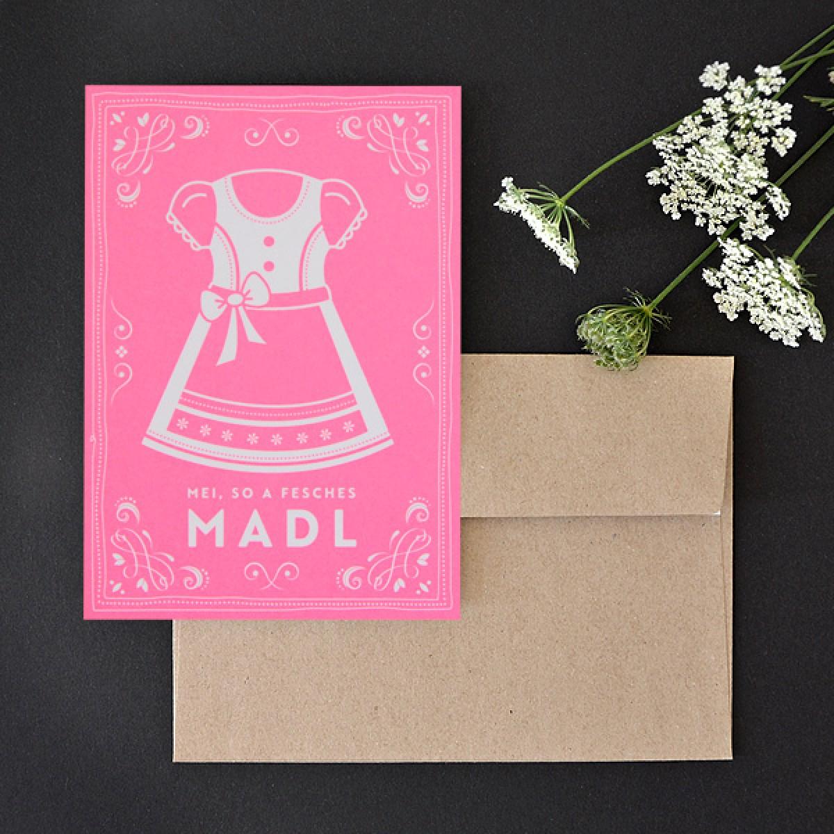 MADL neon-rosé // Klappkarte inkl. Naturpapierkuvert