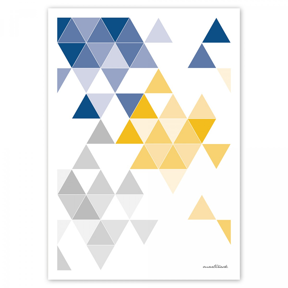 """Frau Schnobel Grafik Druck """"martinesk"""" 21 x 30 cm blau – grau – gelb"""