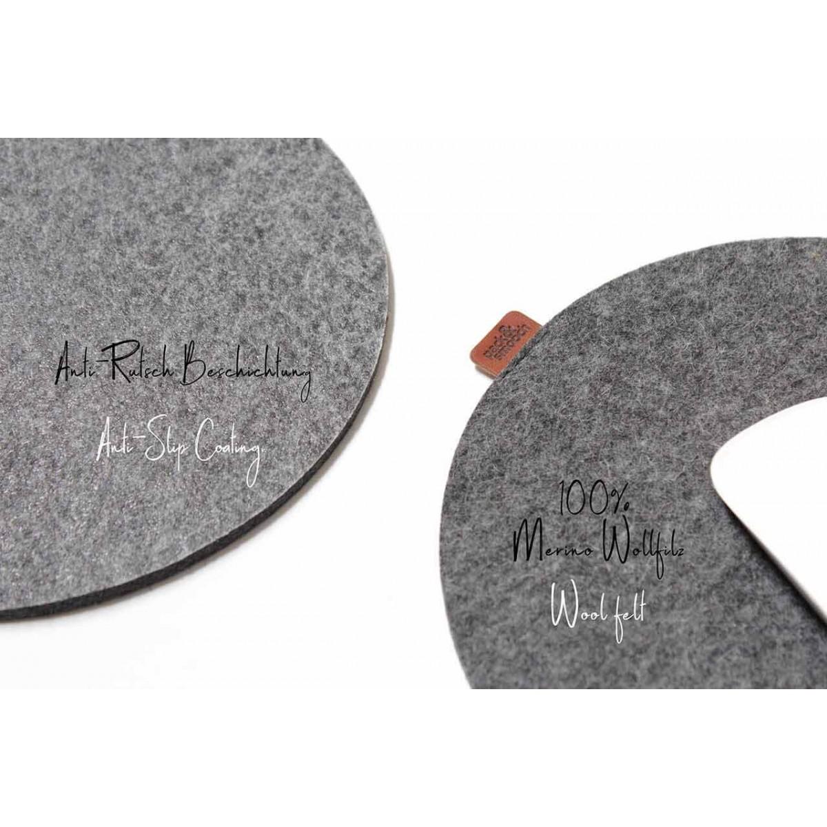 Pack & Smooch Merino Wollfilz Mauspad mit rutschhemender Rückseite